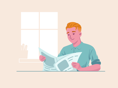 Reading Newspaper newspaper reading man flat vector illustration character design character 2d illustration