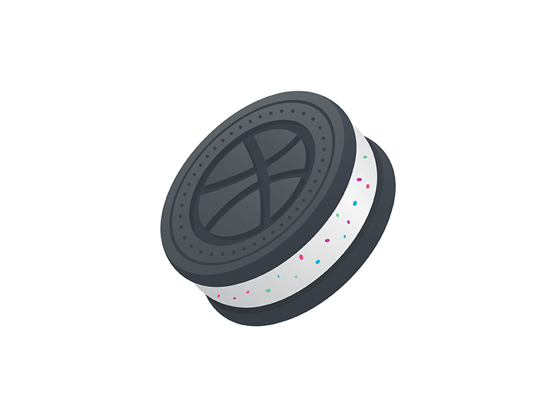 Dribbble Cookie vector ui minimal sticker illustration icon delicious dribbble cookie