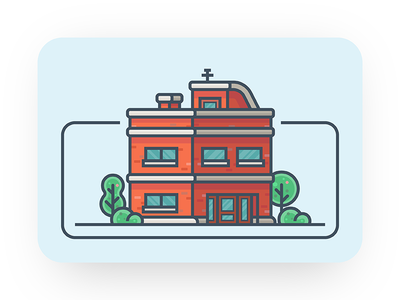 Guesthouse vector ui minimal icon illustration tree building hotel guesthouse house
