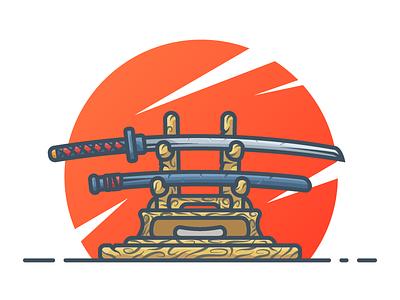 Katana japan wooden illustration wood minimal icon blade weapon illustration vector illustration samurai katana sword