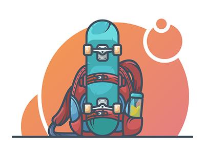 Skateboard board backpack illustration skateboarding icon vector illustration backpack skateboard