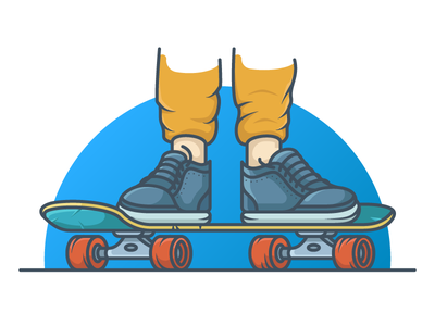 Skateboard wheels cruising sneaker skateboard illustration skateboarder skateboarding skateboard minimal icon vector illustration