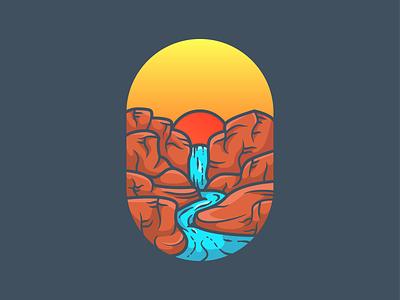 Waterfall cliffs sunset illustration mountain cliff waterfall nature illustration adventure nature minimal icon vector illustration