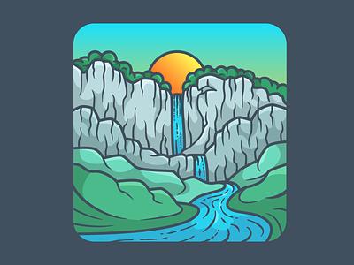 Waterfall mountain waterfall sunset illustration cliffs cliff design adventure nature minimal icon vector illustration