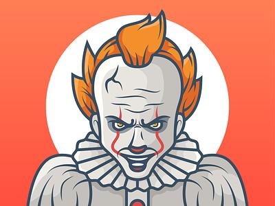 Pennywise halloween illustration halloween clown illustration clown pennywise design character illustration minimal icon vector illustration