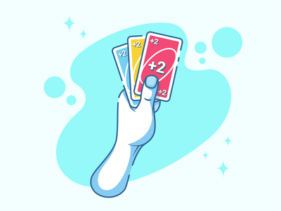 Uno arm card  game card uno character illustration design minimal icon vector illustration