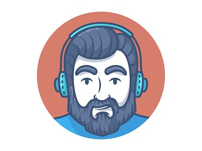 Avatar bearded man beard male character avatar icons avatar character character illustration design minimal icon vector illustration