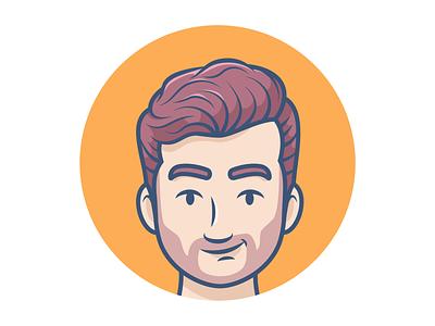 Avatar male character bearded man beard avatar icons avatar character character illustration minimal icon vector illustration