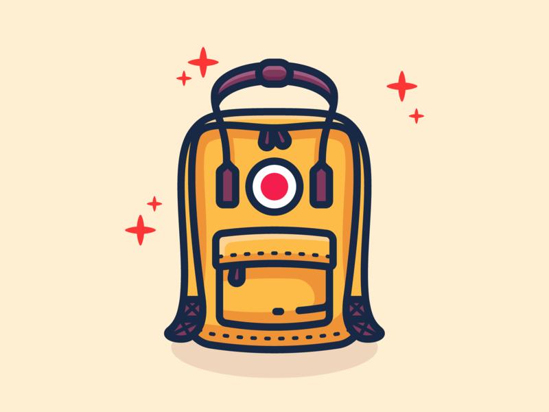 Kanken outline illustration backpack illustration backpack adventure design minimal icon vector illustration