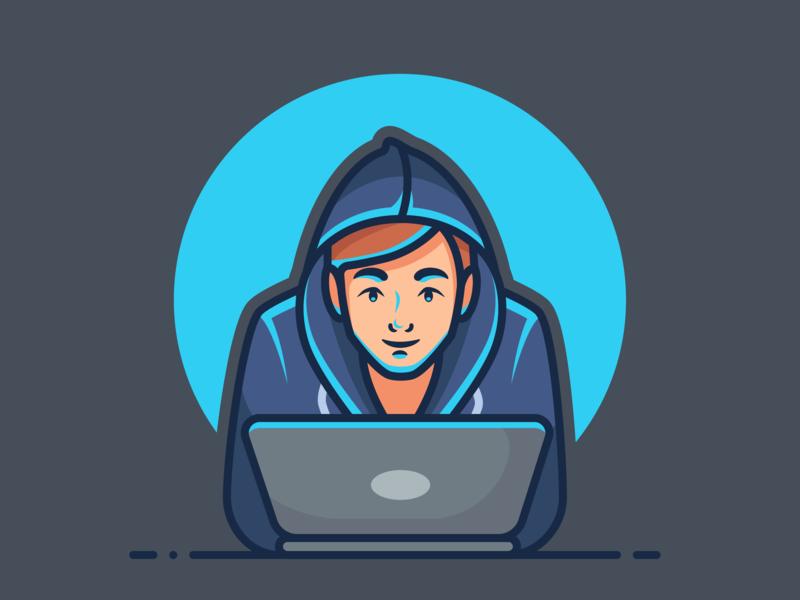 Working Late working night owl designer developer laptop character character illustration design minimal icon vector illustration