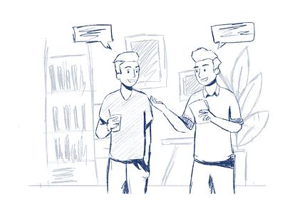 Sketch Work in Progress office sketching character sketch character character illustration minimal sketch illustration