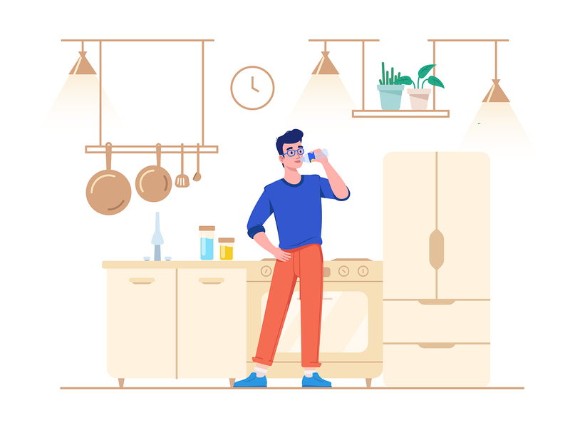 Drink More Water - Healthy Lliving 2020 water drink healthy lifestyle healthy kitchen flat illustration illustrator vector illustration character illustration character design character