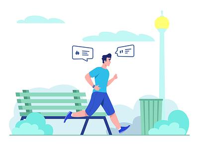 Run More - Healthy Lliving 2020 running park illustrator healthy lifestyle healthy flat illustration character design vector illustration character character illustration