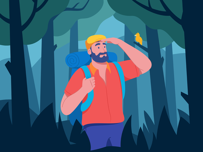 Solo Traveller trees tree forest bearded man character design trip travel nature adventure character character illustration vector illustration