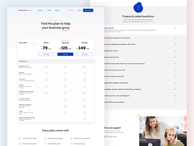 Shoptiques Business - Pricing Page faq ux ui website design web design website landing page ecommerce colors pos fashion clothing startup table form pricing plans plans pricing