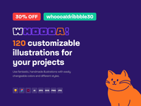 🙀 Whoooa! Illustrations custom promo ai vector illustration design kit template adobe xd figma sketch whoooa cat set illustrations illustraion