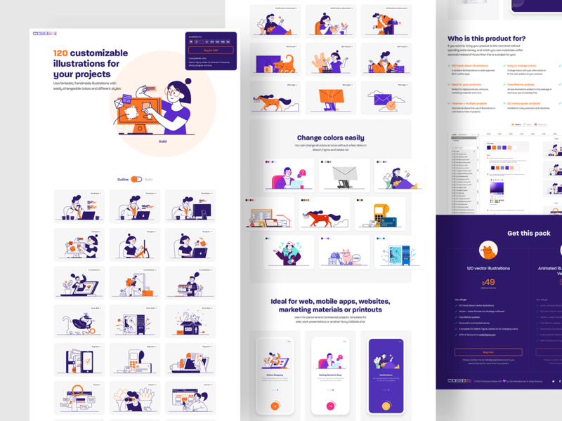 🙀 Whoooa! A huge pack of illustrations for your projects adobe xd cat colors customizable figma illustration illustrations kit landing landing page product page set sketch web design website