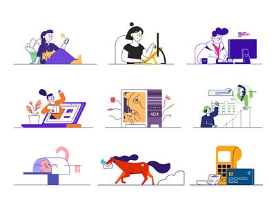 Illustrations - Black and color cat vector minimal line artwork character design character kit whoooa illustrations illustration