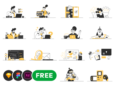 Whoooa! 20 FREE customizable vector illustrations freebies freebie free minimal character design adobe xd figma sketch set vector whoooa illustrations illustration