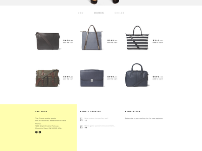 Online Shop simple minimalistic website home page clothes shop clean e-commerce flat fashion webdesign ui