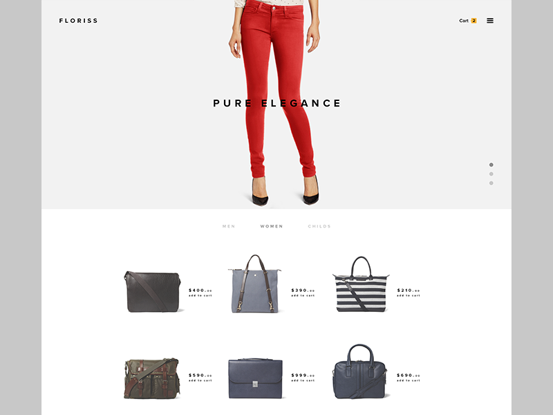 Online Shop simple minimalistic website home page clothes shop clean e-commerce flat fashion webdesign ui