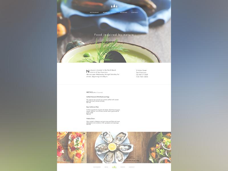 Natuure Page restaurant food clean ui landing page nature restaurant menu home page eat menu health website