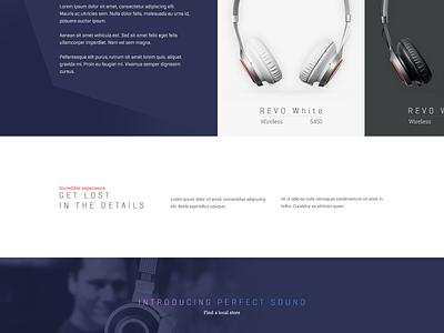 Audio Shop home page shop audio music headphones ecommerce flat ui landing page website redesign ux
