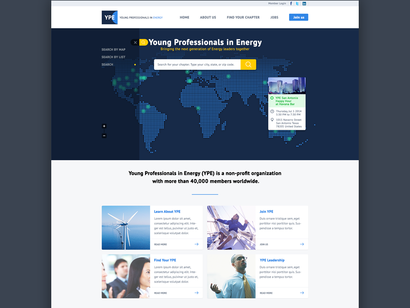 YPE Site ui landing page home page web website energy blue clean search interface flat