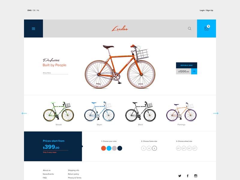 E-commerce theme ecommerce e-commerce shop website webdesign ui uidesign bike theme flat checkout cart