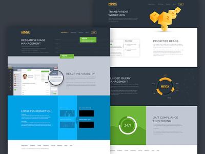 MDDX site project website landing page graphs ui design long features ui landing clean design grid