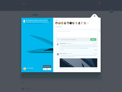 Comments share form avatars comment vote popup material design material ui web design web interface
