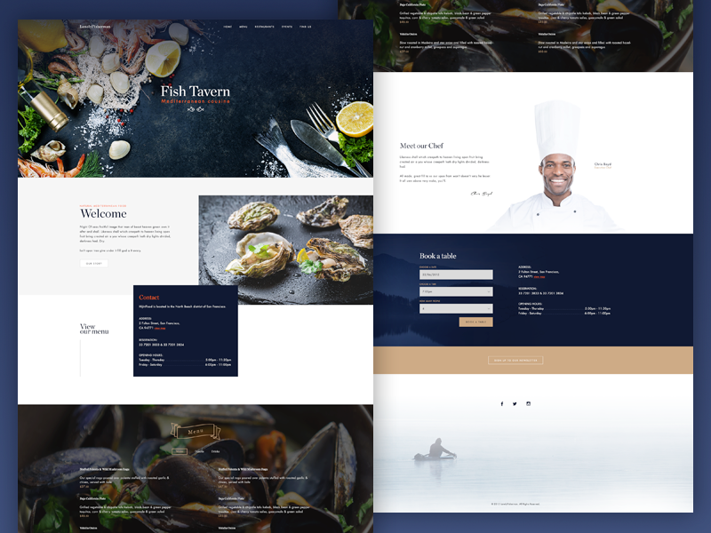 Lonely Fisherman  cooking chef ui theme website web fish eat restaurant food fisherman fishing