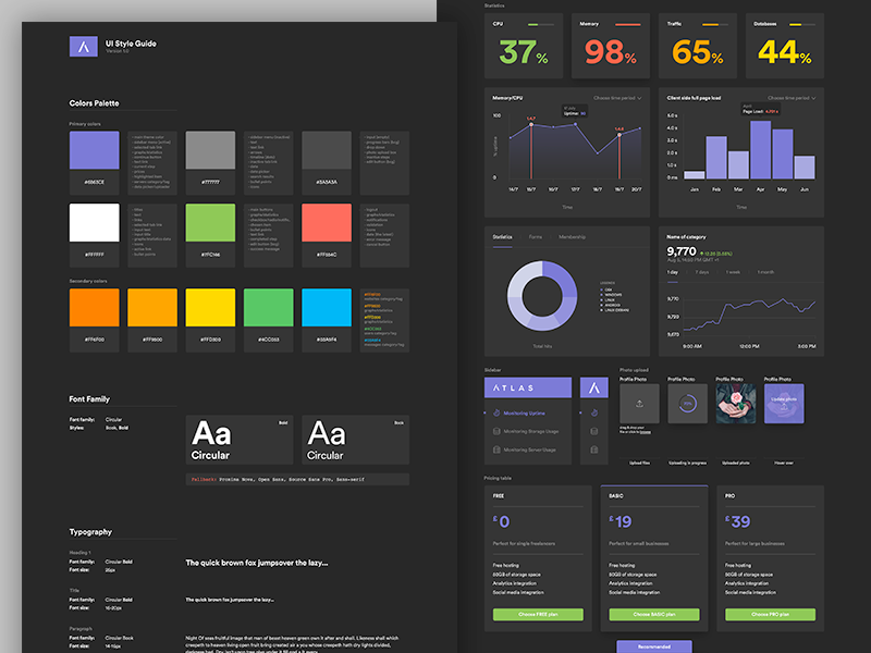 UI Style Guide stats graph ui typography ui style guide ui elements ui guide style guide interface guidelines guide colors palette