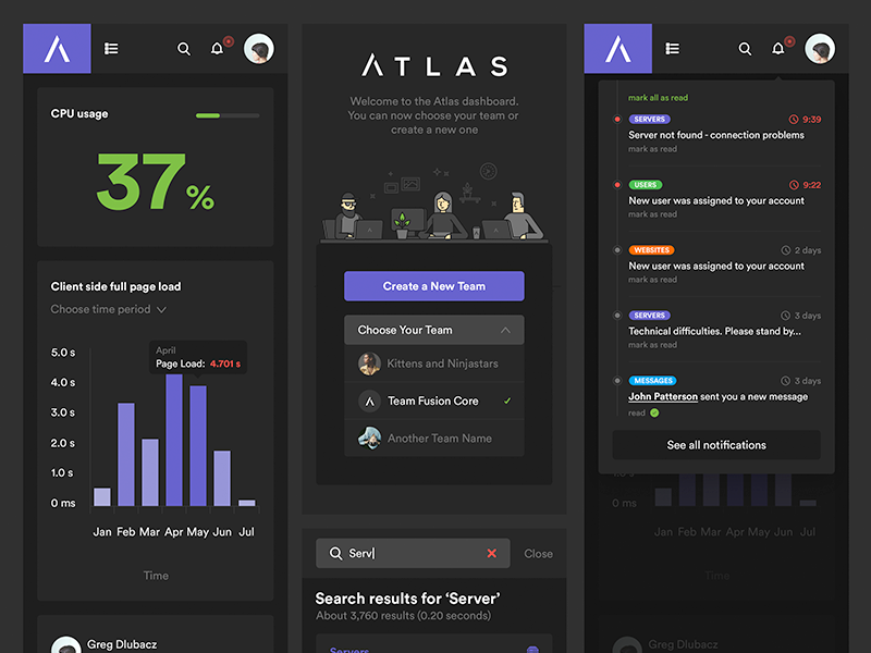 Atlas Mobile app menu search team notifications stats graph dark ui responsive web design rwd responsive mobile