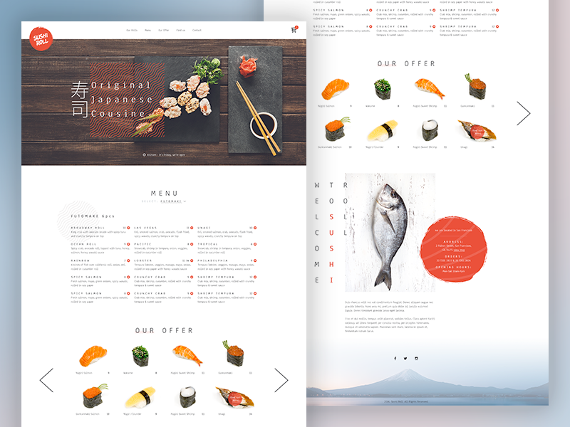 Sushi restaurant cuisine cart faish landing page home page template menu japanese japan food restaurant sushi