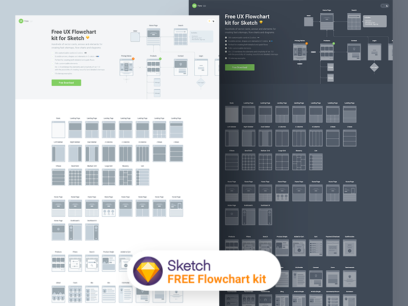 FREEBIE Flowchart kit 2.0 for Sketch wireframe flow chart sitemap freebie free sketch userflow flow flowchart landing page