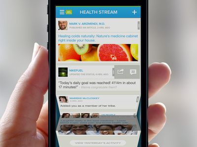 CareTribe Health Stream - Visual Concept app iphone app product design ux user interface user experience handsome caretribe health health app ui list list view light hand swipe blurry background notifications folding streaming healthy