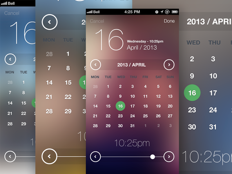 iOS7 Inspired Date & Time Picker ios7 app ui ux interaction flat blur iphone