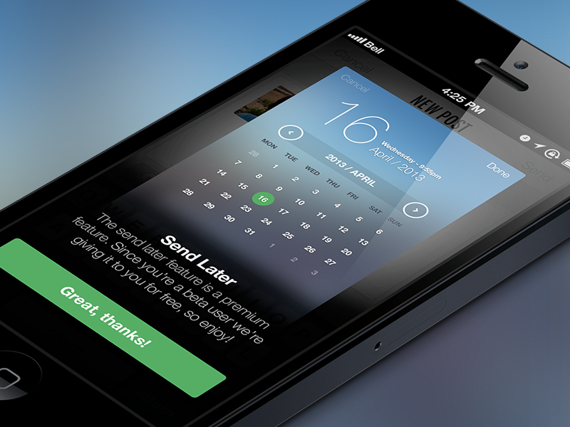 iOS7 Inspired Date & Time Picker Overlay ui handsome app ux blur iphone app ios7 iphone