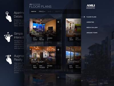 Apartment Leasing Experience application app dark ui ui ux user experience user interface touch screen apartment