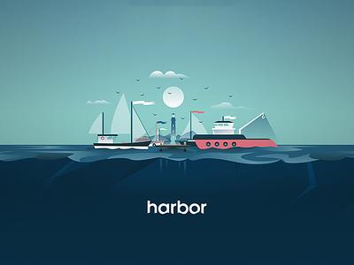 Harbor Illustration logodesign logo nautical ships blue sea water illustration