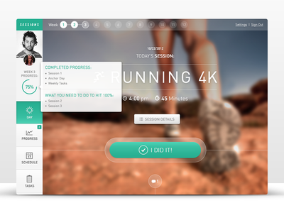 Fitness Web App: Sessions dashboard profile status progress button icon web app buttons icons modal popup user handsome ui ux interface din hover tooltip
