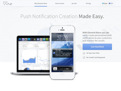 Element Wave Marketing Mast Head ux push notifications handsome masthead startup start-up startups marketing web marketing page user experience mockup handsomemade macbook texture devices notifications blue ui iphone notification graph dashboard header copy navigation