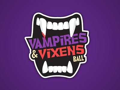 Vampire and Vixens Ball teeth vixens vampire halloween fangs identity fat lines typography logo