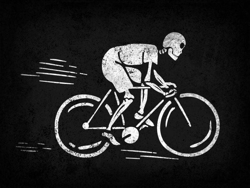 Skeleton Cyclist texture grunge skeleton bicycle illustration