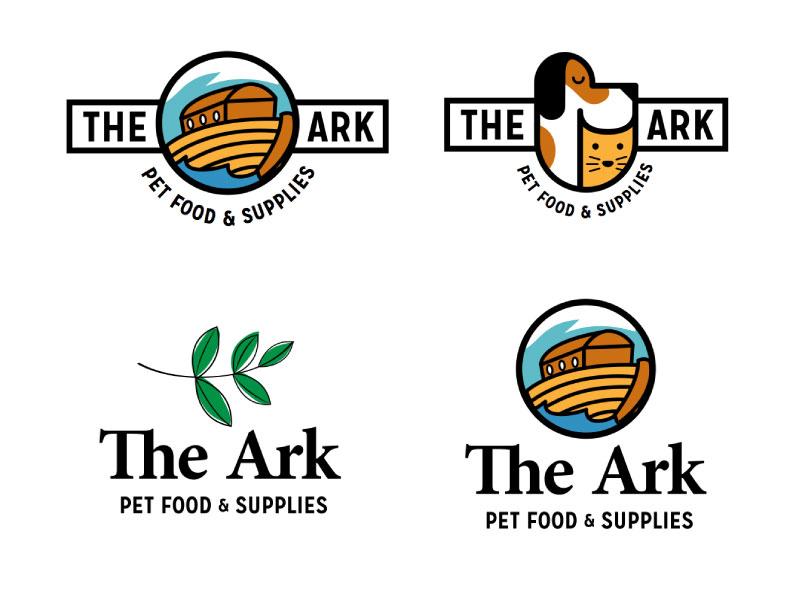 The Ark Logo Concepts ark brand pets cat dog animals logo