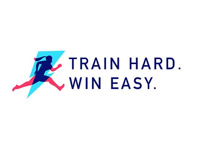 Train Hard. Win Easy. fitness strength lightening logo women girls sports
