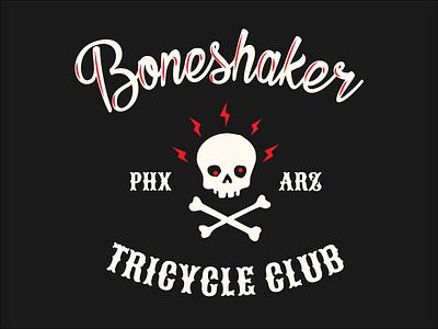 Boneshaker Tricycle Club tricycle hot-rod motorcycle arizona phoeinx crossbones skull typography lettering