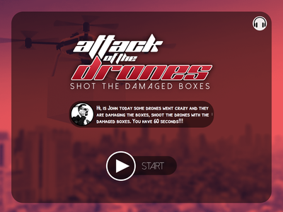 Attack of the drones game app drones game ui web