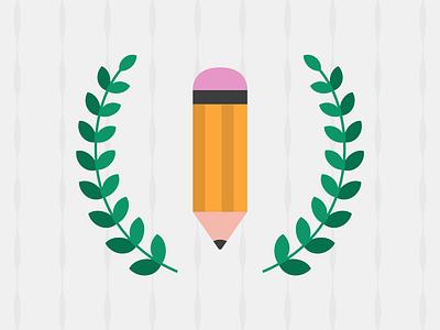 Website Illustration for Blog pencil laurel illustration adobe illustrator flat design flat vector blog illustration blog copywriting seo